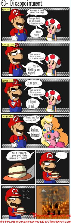 Mario doesn't wanted cake, he wanted to f*** Peach but no,Peach give him a motherf****ng piece of cake.
