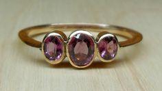 Vintage Antique 1.00ct Purple Garnet 9k Rose Gold Bezel Set Unique Engagement Ring 1920's Art Deco by DiamondAddiction on Etsy
