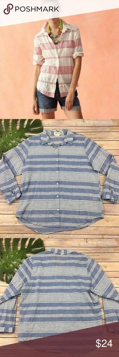 Anthropologie Lili's Closet Button Down Shirt Anthropologie Lili's Closet Button Down Striped Shirt Small   Machine Wash Cold  Never worn Anthropologie Tops Button Down Shirts