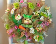 Easter Wreath Deco Mesh Wreath Easter by ConniesSavyCreations