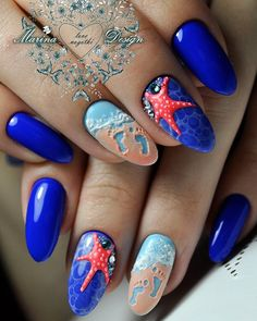 #nails #nailart #manicure I'm not a huge fan of the ultramarine blue but I love the starfish and beach details!