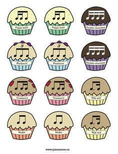 Rhythm Muffin Printable. Great ideas instead of the usual fruit that I use. She has a great blog for piano teaching. #singinglessonsforchildren