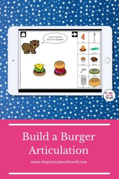 These hamburger themed speech therapy digital task cards on the BOOM Learning website target articulation of 22 target sounds. To play, you build bear's burgers by dragging the toppings to the buns. Then, practice the words underneath with your best speech. Once you've finished practicing, hit next to feed the bear it's burgers!