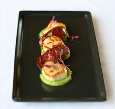 Made this!! So yummy! Seared scallops with chorizo & pea puree