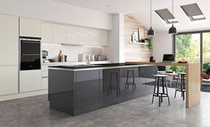 Getting the Best Stunning Ultra-Modern Kitchen Island Design Ideas Kitchen design is growing increasingly important. When it has to do with kitchen de. Modern Kitchen Island, Kitchen Tops, New Kitchen, Modern Kitchens, Kitchen Office, Bespoke Kitchens, Kitchen White, Luxury Kitchens, Kitchen Cabinets