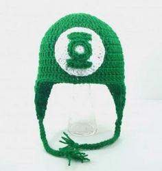 touca gorro em croche para bebe super heroi lanterna verde