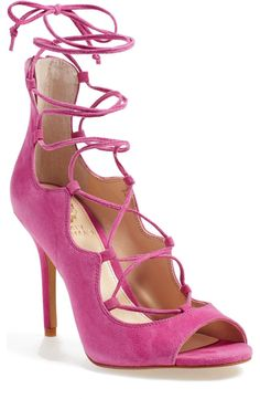Head over heels for these pink suede sandals from Vince Camuto! The peep toe and lace-ups add even more detail to these fun shoes.