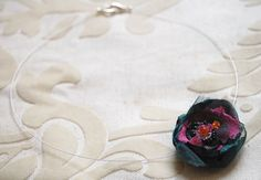 Floating Silk Flower and Crystal Beaded Necklace by GhostFlowerArt, $19.50