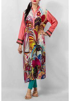 Stylish Fashion Base: Grapes Tight Pajama With Brooch Button Khadi Multicolor Digital Print Kurta 2014