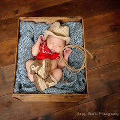 Cute as Can Be Cowboy Hat and Booties Set for Newborn Boys at www.melondipity.com. These sweet cowboy sets are handmade right here in the Good Ole' USA. The set includes an adorable newborn cowboy baby hat and a pair of the cutest cowboy booties you have ever seen. Theses hat and booties are light brown with dark brown detailing. Price: $48.99