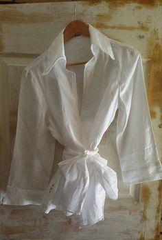 Pure White Linen Blouse / Linen Shirt / Long Sleeve Blouse /
