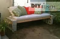 Cute- wood planks and sinder blocks made into a bench!