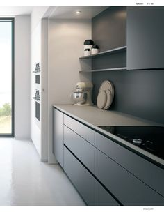 gray kitchen cabinets - why should I outfit a gray kitchen layout with gray cabinets, wall surface paint, flooring, wallpaper Grey Cupboards, Grey Kitchen Cabinets, Kitchen Cabinet Design, Kitchen Layout, Interior Design Kitchen, Gold Kitchen, Modern Grey Kitchen, Gray And White Kitchen, Home Decor Kitchen