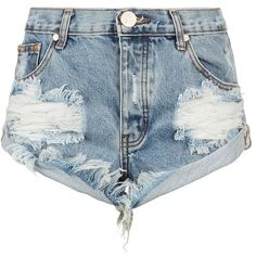 One Teaspoon Bandit Distressed Denim Shorts   Harrods (385 BRL) ❤ liked on Polyvore featuring shorts, bottoms, шорты, one teaspoon, distressed denim shorts and one teaspoon shorts