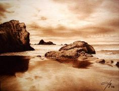 Coast Pyrography by Juan Carlos Gonzalez Pyrography Art, Coffee Painting, Wood Art, Painting, Pyrography Patterns, Cool Art, Seascape, Pyrography Designs, Pictures