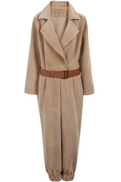 Camel Lapel Long Sleeve Belt Loose Jumpsuits - Sheinside.com