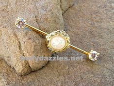 Gold Glitter Opal Industrial Barbell Rhinestone Ends 14ga Surgical Stainless Steel Body Jewelry Ear Barbell