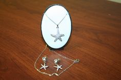 Starfish necklace and earrings, silver  jewelry, starfish jewelry, Cocktail jewelry, Romantic kulon, fashion Jewelry with stones, Bijouterie by BeautyFullMall on Etsy