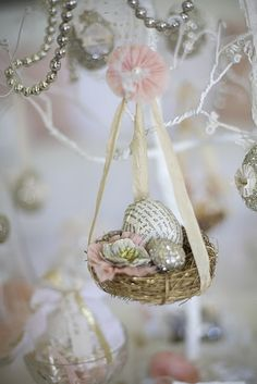 idea: hang nest with eggs from your chandelier\  For handmade greeting cards visit me at My Personal blog: http://stampingwithbibiana.blogspot.com/