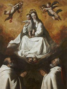 The Virgin of Mercy with two Mercedarian Monks / La Virgen de la Merced con dos mercedarios // ca. 1635-1640 // Francisco de Zurbarán // Colección privada // #VirginMary #ransom