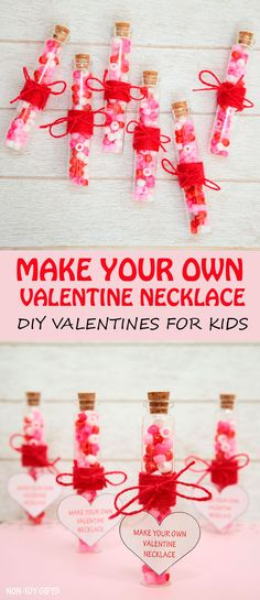 DIY Valentine favor idea. Simple non-candy Valentines for kids. Use beads and string to create easy Valentines for the classroom Valentine's Day party. | at Non-Toy Gifts