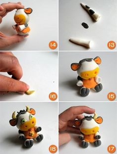 Polymer clay funny caw - DIY step by step tutorial - FImo DIY, polymer clay tutorials Polymer Clay Owl, Polymer Clay Figures, Polymer Clay Animals, Polymer Clay Projects, Polymer Clay Creations, Clay Crafts, Cake Topper Tutorial, Fondant Tutorial, Decoration Patisserie