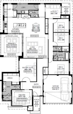 Luxury Home Designs Perth - Luxury House Plans - National Homes 4 Bedroom House Plans, New House Plans, Dream House Plans, Small House Plans, House Floor Plans, House Cladding, Home Design Floor Plans, House Map, Display Homes