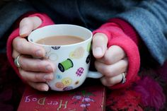 Morning, anyone fancy a cuppa? Cashmere fingerless gloves, a stylish cover for compression dressings available from www.BeautyDespiteCancer.co.uk, gifts for cancer patients and skincare gifts for cancer patients from £5.