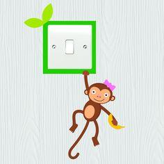 Novelty Cute Monkey /& Jungle Animals Light Switch Vinyl Sticker Cover Skin Decal