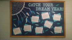Dream catcher RA bulletin board for incoming college first years. I made dream catcher door decs to match. #door #door #decs College Bulletin Boards, Interactive Bulletin Boards, College Board, Ra Programming, Ra Bulletins, Ra Boards, Resident Assistant, Res Life, Door Decs