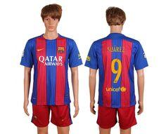 2016-2017 Barcelona #9 Suarez Home Soccer Club Jersey