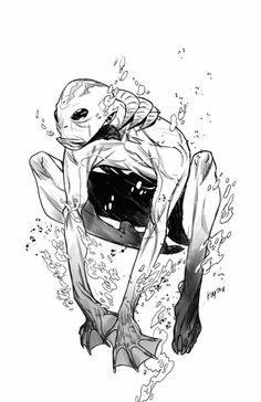 Abe Sapien by Kim Jacinto * Comic Book Artists, Comic Artist, Comic Books Art, Abe Sapien, Monochromatic Art, Random Drawings, Hero Time, Mike Mignola, Sci Fi Fantasy