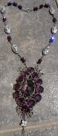 Antique Art Nouveau NecklaceAmethyst by RosebudsnPearls on Etsy, $35.00