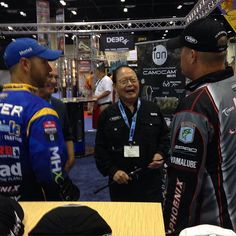 Winn Grips very own, Dr. Ben Huang, sharing a laugh with our Winn Pro Staffers, Russ Lane and Brandon Lester. #ICAST #fishing #winngrips #winnfishing #russlane #brandonlester #bassmaster @russ_lane @blesterfishing #orlando
