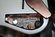 RIDICULOUS detail on a Daemoness Guitars! The inside guts are something almost nobody will ever see yet you can see how much effort goes into it! Custom Electric Guitars, Custom Guitars, Guitar Diy, Cool Guitar, Guitar Pickups, Guitar Building, Guitar Parts, Beautiful Guitars, Guitar Design