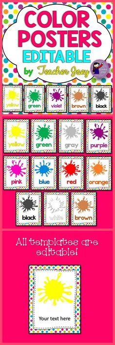 Color Posters Editable Rainbow Polka Dots Background #teacherspayteachers #tpt