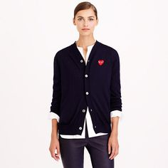 We adore this playful, quirky line dreamed up by Japanese designer Rei Kawakubo (founder of cult label Comme des Garçons), so we just had to share it. Sporty-chic separates—like this classic wool cardi—all feature the signature (and totally adorable) heart logo designed by New York-based graphic artist Filip Pagowski. <ul><li>Boyfriend fit.</li><li>Hits below hip.</li><li>Wool.</li><li>Dry clean.</li><li>Import.</li><li>Online only.</li></ul>