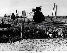 German armored rail cars securing a railway line in Yugoslavia, 1944.