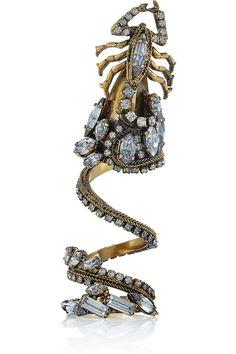 Erickson Beamon|Gold Digger gold-plated Swarovski crystal ring|NET-A-PORTER.COM