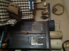 """""""Antique Pie Safe & Crocks...""""  ~ Looks so inviting, love the Chair upholstery Fabric too! <3 ~"""