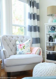 Coastal Style Blue and White Living Room Lakehouse Living Room Makeover Reveal for the One Room Challenge -5
