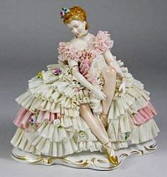 Dresden Ballerina Porcelain Figurine with lace draping