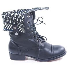 Sharper1 Black Lace Up Military Combat Boot Foldable Convertible Women Size Shoe