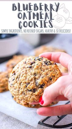 These Blueberry Oatmeal Cookies are delicious! They are soft and chewy with plenty of juicy blueberries and dark chocolate bits inside. They are also easy to make with simple ingredients, loaded with wholesome oats. Great for camping, picnic, or road trips. ---- #cookies #cookierecipe #healthycookies #oatmeal #oatmealcookies #recipes #recipeshare #healthyrecipes #foodrecipe #blueberry #blueberrycookies #breakfast #breakfastideas #snacks #healthysnacks #healthysnackideas
