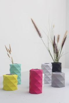 Fuchsia Paper Origami Vase, Holiday Gifts, Geometric Vase, Hexagon Vase, DIY Origami Vase, Paper Vase