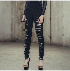 Women's Punk Buckles Damaged Roles Ripped Denim Leggings B009