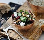 salat Lentil Salad, Kitchen Stories, Lentils, Camembert Cheese, Foodies, Dairy, Cooking, Blog, Crafts