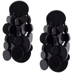 Monies disc tassel clip on earrings (18,320 INR) ❤ liked on Polyvore featuring jewelry, earrings, black, wooden earrings, monies jewellery, clip on earrings, disc earrings and monies jewelry