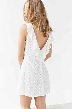 Kimchi Blue Plunge-Back Lace Frock Dress - Urban Outfitters