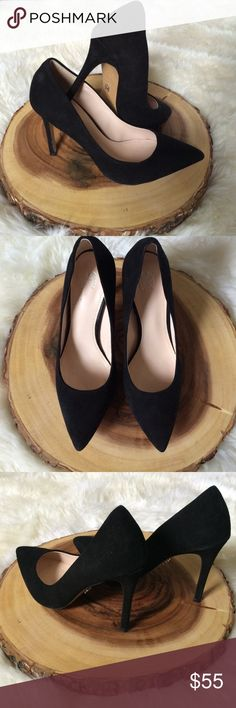 "Victoria's Secret pointed toe suede heels size 6.5 Beautiful Victoria's Secret pointed toe black suede heels size 6.5 worn ONCE. Heel height is 4"" inches. Does not come with box Victoria's Secret Shoes Heels"